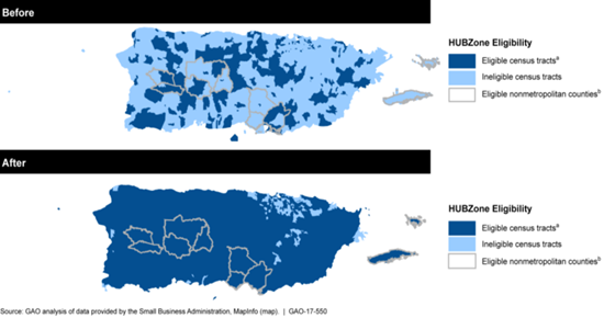 Figure 1: HUBZone areas in Puerto Rico before and after the SBA changed the definition of qualified census tracts in June 2016